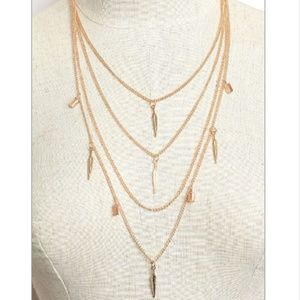 NWT Gold Multi Strand Feather Necklace